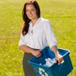 Royalty-Free Stock Photo: Recycling paper box businesswoman in sunny meadow