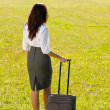 Businesswoman sunny meadow leaving with luggage — Stock Photo