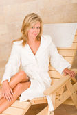 Relax luxury spa beauty woman white bathrobe — Stock Photo