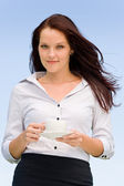 Businesswoman blue sky attractive cup of coffee — Stock Photo