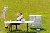 日当たりの良い牧草地に実業家リラックス自然事務 — ストック写真