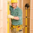 Handyman mature professional with spirit level — Stock Photo #6879350