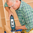 Handyman home improvement drilling wood — Stock Photo
