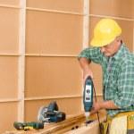 Handyman home improvement drilling wood — Stock Photo #6879390