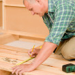 Handyman home improvement wooden floor renovation — Stock Photo #6879410