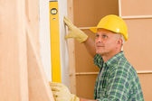 Handyman mature professional with spirit level — Stock fotografie