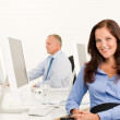 Businesswoman pretty smile sit in office colleague — Stock Photo