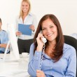 Business team pretty businesswoman calling phone — Stock Photo
