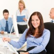 Business team pretty businesswoman with colleagues — Stock Photo #6935466