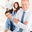 Business team senior manager with happy colleagues — Stok fotoğraf