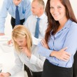 Business team pretty businesswoman with colleagues — Stock Photo #6935475