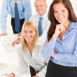 Business team pretty businesswoman with colleagues — Stock Photo