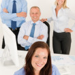 Business team pretty businesswoman with colleagues — Stock Photo #6935497