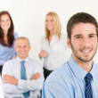 Business team young manager with happy colleagues — Stock Photo