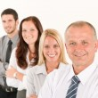 Business team happy standing in line portrait — Stock Photo #6935534