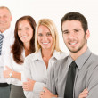 Business team happy standing in line portrait — Stock Photo #6935536