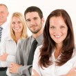 Business team happy standing in line portrait — Foto de Stock