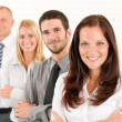 Stock Photo: Business team happy standing in line portrait