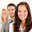 Business team happy standing in line portrait — Foto Stock