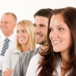 Business team happy profile looking aside - Stock Photo