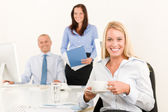 Business team pretty businesswoman drink coffee — Stock Photo