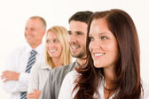 Business team happy profile looking aside — Stock Photo
