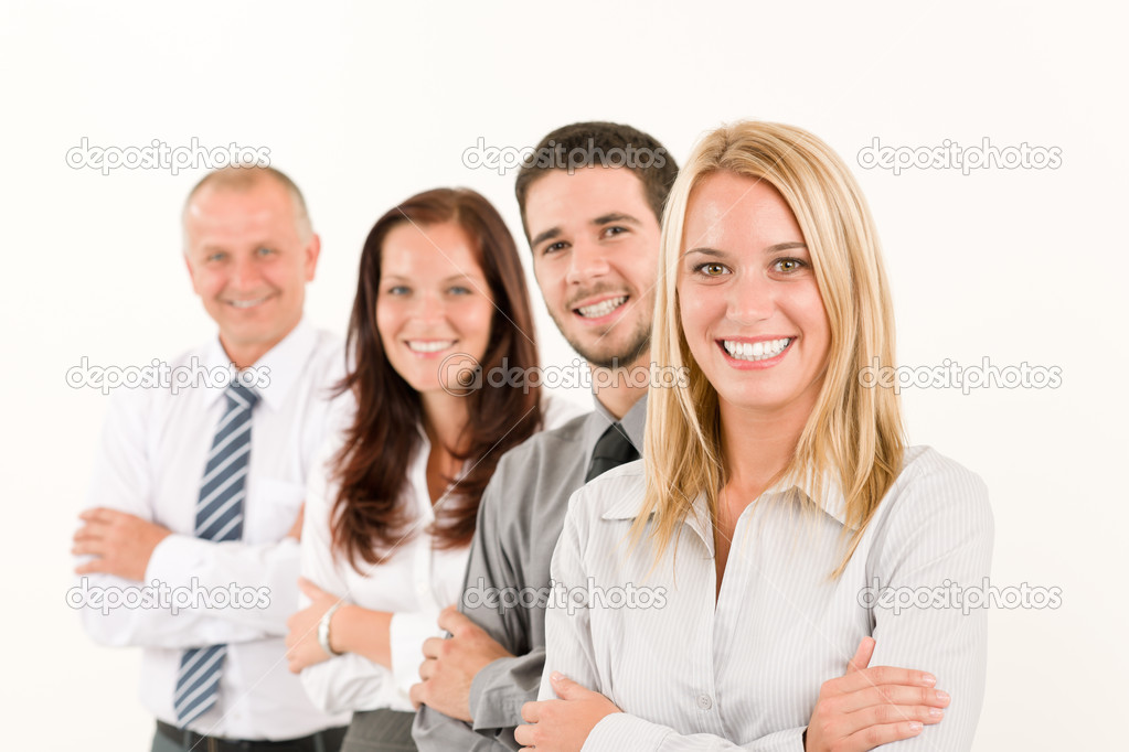 Business team happy attractive woman colleagues standing in line portrait — Stock Photo #6935537