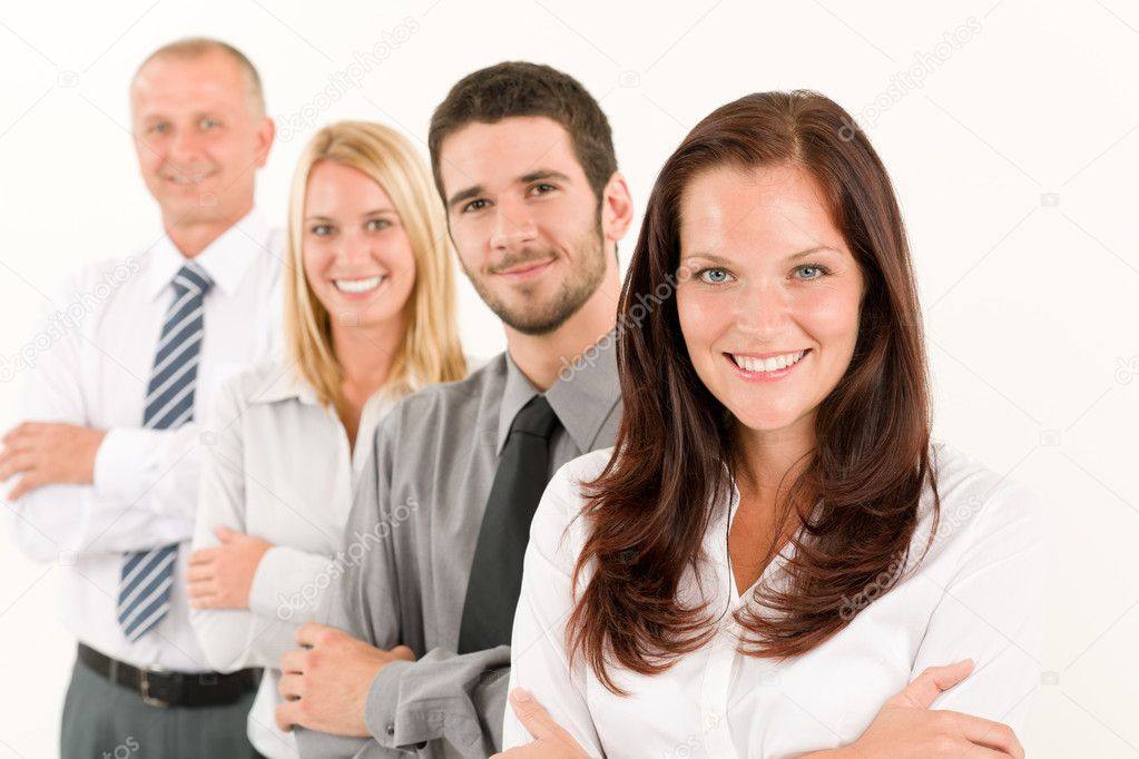 Business team happy attractive woman colleagues standing in line portrait  Foto Stock #6935538
