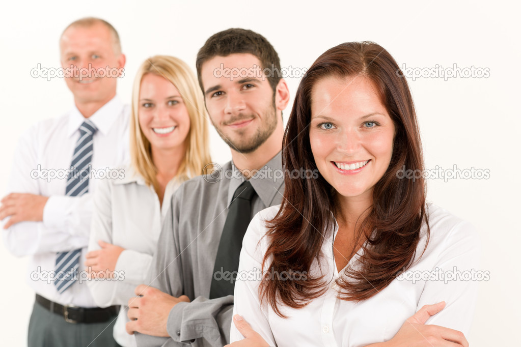 Business team happy attractive woman colleagues standing in line portrait — Lizenzfreies Foto #6935538