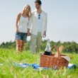 Picnic basket - Romantic couple holding hands - Stockfoto