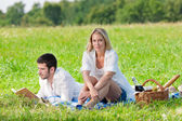 Picnic - Romantic couple read book meadows — Stock Photo