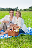Picnic young happy couple celebrating with wine — Stock Photo