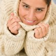 Stock Photo: Winter portrait of happy womwear pullover
