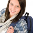 Student teenager happy girl with schoolbag — Stock Photo #7234188