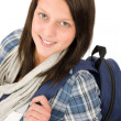 Stock Photo: Student teenager happy girl with schoolbag