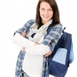 Student teenager happy girl with schoolbag — Stock Photo #7234194