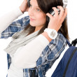 Happy female teenager enjoy music headphones — Stock Photo