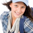 Stock Photo: Smiling female teenager wear cool outfit schoolbag