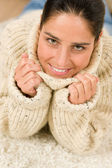 Winter portrait of happy woman wear pullover — Stock Photo