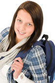 Student teenager happy girl with schoolbag — Stock Photo