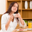 Breakfast at home dreamy woman with coffee — Stock Photo #7357302