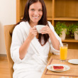 Breakfast at home happy woman with coffee — Stockfoto