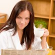 Breakfast at home happy woman with coffee — Stock Photo #7357337