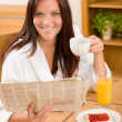 Breakfast at home happy woman with coffee — Stock Photo #7357345