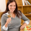 Healthy lunch at home woman drink wine — ストック写真 #7357389
