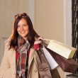 Autumn outfit shopping woman elegant with bags — Stock Photo