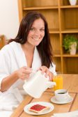 Breakfast at home happy woman with coffee — Stock Photo