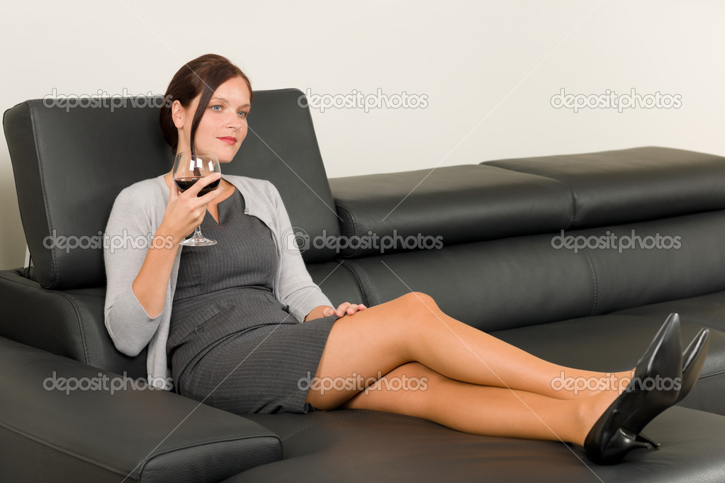 Elegant businesswoman sit leather sofa drink wine Stock  : depositphotos7357535 stock photo elegant businesswoman sit leather sofa from depositphotos.com size 1023 x 682 jpeg 54kB