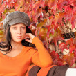 Autumn park bench young woman relaxing — Stock Photo #7486089