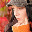 Autumn portrait cute female model face close-up — Stock Photo #7486132